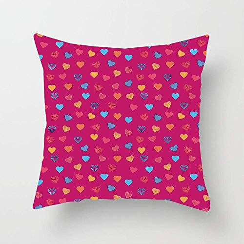 NA Cute Heart Figures Valentine Days Lovers Kids Nursery Baby Love Festive Concept Throw Pillow Cover Soft Cotton Cushion Cover for Couch Bedroom Car