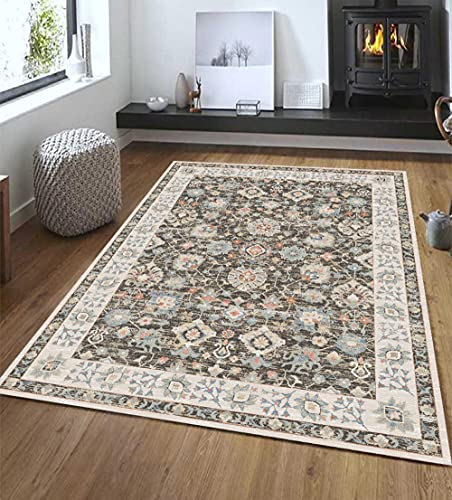 KaO0YaN,Oriental Vintage Floral Ornament Area Rug, Short Pile Classic Moroccan Bedroom Hallway Runner Carpet, Washable Printed Rug Mats Living Room(Gray,80x120cm)