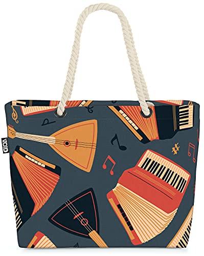 VOID Ziehharmonika Balalaika Gitarre Strandtasche Shopper 58x38x16cm 23L XXL Einkaufstasche Tasche Reisetasche Beach Bag