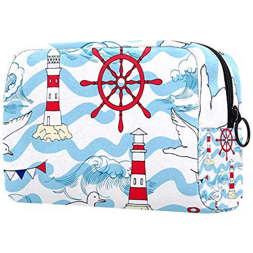 Cosmetic Bag Womens Waterproof Makeup Bag for Travel to Carry Cosmetics Change Keys etc Seagull Lighthouse Wheel Wave Sea Ocean