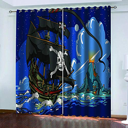 Ayvvaceo 3D Digital Printing Polyester Fiber Curtains, Garden Living Room Kitchen Bedroom Blackout Curtains, Perforated Curtains 2 Piece Set Sailing Boat On Blue Sea 182(W) X214(H) Cm