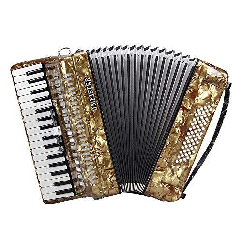 M-zutx Golden Piano Accordions 34-key 60 Bass Acordeón de clasificación for niños 5 Sintonizadores Acordeón Niños adultos Tocando acordeones Instrumentos Perfect Holiday Birthday Present