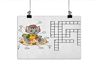 Word Search Puzzle Art Oil Paintings Crossword Game for Children Cute Cat on Beach and Building Sand Castles Canvas Prints for Home Decorations 20