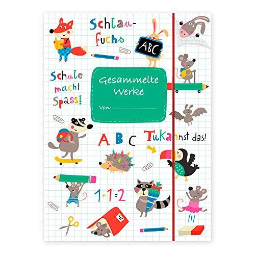 Sammelmappe für Kinder A4, Ordnungsmappe für Schule oder Kindergarten zum Aufbewahren von Zeichnungen, Arbeitsblättern und Heften, Dokumentenmappe mit Gummiband