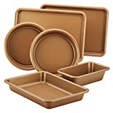 Ayesha Curry 47192 Nonstick Bakeware Set with Nonstick Cookie Sheet, Cake Pans, Baking Pan and Bread Pan - 6 Piece, Copper Brown