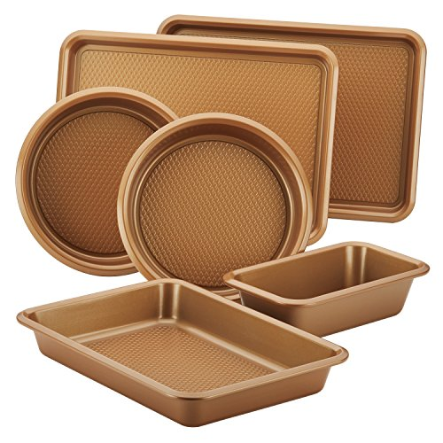 Ayesha Curry Nonstick Bakeware Set with Nonstick Cookie Sheet, Cake Pans, Baking Pan and Bread Pan - 6 Piece, Copper Brown