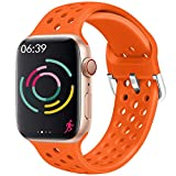 Hisri Compatible with Apple Watch Band 44mm 40mm 42mm 38mm Sport Breathable Extra-Soft Silicone Wristband Men Women Replacement Bands for iWatch Band Series 5 4 3 2 1 (Orange, 38mm/40mm)