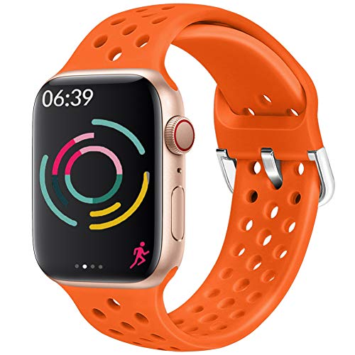 Hisri Compatible with Apple Watch Band 44mm 40mm 42mm 38mm Sport Breathable Extra-Soft Silicone Wristband Men Women Replacement Bands for iWatch Band Series 5 4 3 2 1 (Orange, 42mm/44mm)