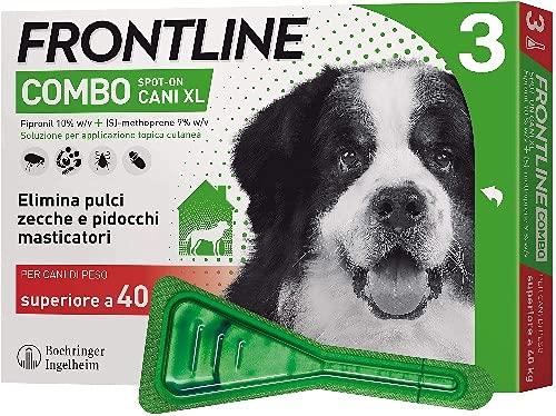 Frontline Combo, 3 Pipette, Cane Taglia XL (> 40 Kg), Antiparassitario per Cani e Cuccioli di Lunga Durata, Protegge il Cane e Anche la Casa da Pulci, Zecche, Uova e Larve, Antipulci 3 Pipette