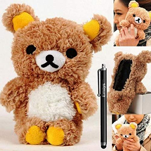 for Galaxy S9 Plus Case, Emilys Fashion Style Cute 3D Lovely Teddy Bear Doll Cool Plush Fuzzy Furry Back Phone case Fur Hair Plush Cover for Samsung Galaxy S9 Plus Brown