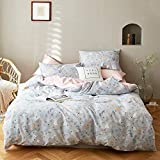 Grey Floral Girls Cute Bedding Sets Queen Pink Rabbit Kids Botanical Duvet Cover Queen Cotton Teens Comforter Cover Queen Breathable Rural Quilt Cover with 2 Pillow Shams, No Comforter
