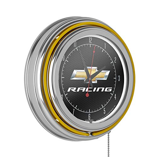 Trademark Gameroom Chevrolet Chrome Double Rung Neon Clock - Chevy Racing