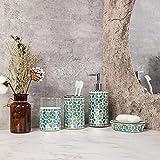 HILHORA Bathroom Accessories Set 4 Pcs Mosaic Glass Decorative - Durable Bath Organizer Includes Soap Dish & Tumbler Cup & Toothbrush Holder & Soap/Lotion Dispenser (Green)
