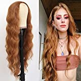 Maycaur Long Wavy Hair Ginger Color Synthetic No Lace Front Wigs for Black Women 22 Inch Heat Resistant Soft Fiber Hair