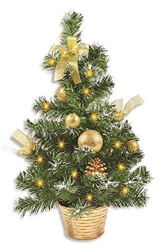 Riffelmacher Geschmückter Weihnachtsbaum beleuchtet 50cm 20257 - Gold - Weihnachtsbaum mit Lichterkette Schleifen Christbaumkugeln