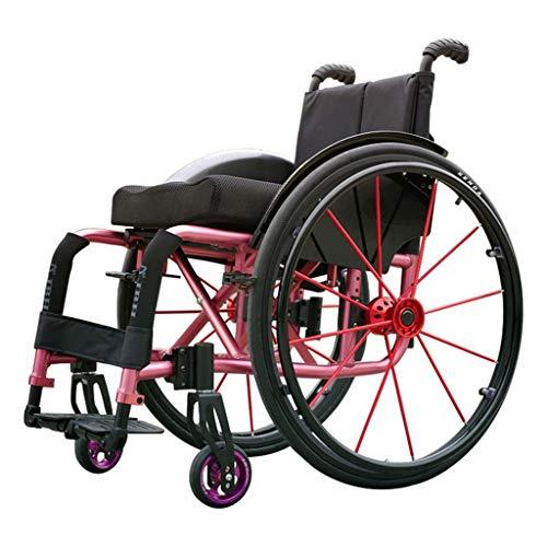 Hiyougen Tipo di Sport Sedie a rotelle Sedia a rotelle Propulsore Pieghevole Portatile in Alluminio Leggero Sedile ergonomico Cuscinetto di carico 100 kg