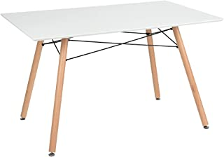 "GreenForest Dining Table Rectangular Top Modern Leisure Coffee Table Home and Kitchen 44"" x 30"" White"