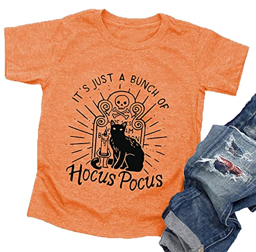 Halloween T Shirt Toddler Boys Girls It's Just A Bunch of Hocus Pocus Shirts Baby Graphic Tees Tops(Orange,100)