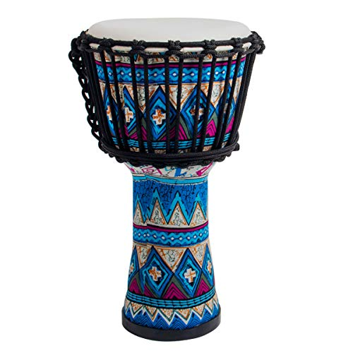 lotmusic Djembe African Drum Bongo Congo Stardard Size Goatskin Drumhead (8', Blue)