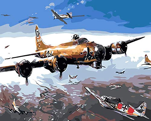 Jcpaint schilderen op nummer-kits vliegtuig DIY olieverfschilderij op canvas voor volwassenen en kinderen met penselen en acrylpigment geschenkdecoratie 16 x 20 inch zonder lijst