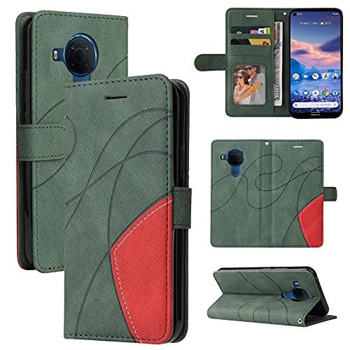 ZHANGHUI Funda protectora para Nokia 3.4 de piel tipo cartera, ranura para tarjetas, funda para teléfono Nokia 3.4, cartera para hombre y mujer, a prueba de golpes, color verde
