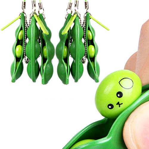 Miss House 6 Piece Decompression Peas in A Pod Keyring Edamame Keychain Stress Relief Toy Peas Pendant Key Chain