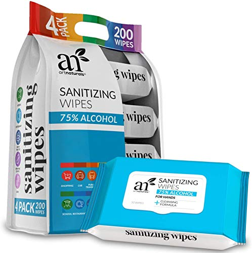 Artnaturals Hand Sanitizing Wipes 75% Alcohol-Based (Pack of 4 x 50PC) Individually Wrapped Portable Hand Sanitizer Wipes, unscented - Travel Size Disposable Cleaning Wet, Keep Hands Hygienic