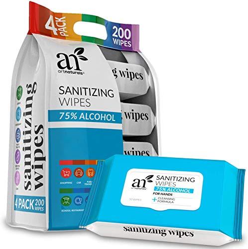 Artnaturals Hand Sanitizing Wipes 75% Alcohol-Based (Pack of...