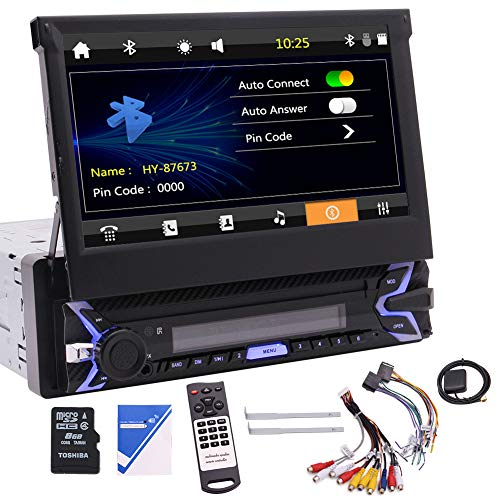 """Single Din Car Stereo Receiver 7"""" Touch Screen GPS Navigation in-Dash Bluetooth Audio/Radio FM/AM AUX/USB/MP3/MP4/R.D.S. Hands Free Calling + 8GB Map Card + Wireless Remote"""