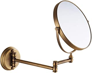 Vanity Mirror Wall-Mounted Makeup Mirror 360 Degree Rotatable Bracket Perforated Double-Sided Copper HD for Home