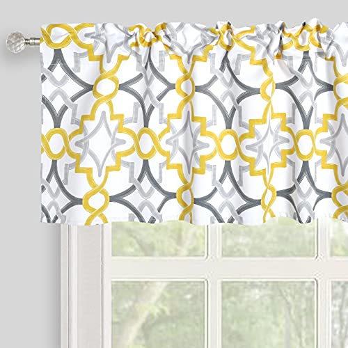 Inselnwald Geometric Trellis Valances for Windows Thermal Insulated Window Valances for Living Room Kitchen Bathroom Bedroom Rod Pocket Short Curtain, 52x18 inch, Yellow/Gray