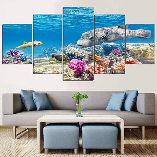 N / A 5 paneles de pintura de pared decoración del hogar arte cartel 5 paneles de pescado en el mar profundo impresión HD moderna lienzo sala de estar