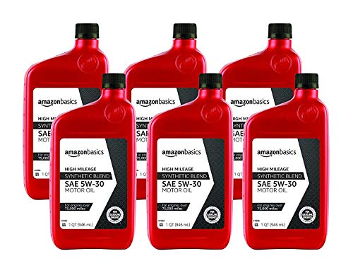 AmazonBasics AM53BHP6 High Mileage Motor Oil, Synthetic Blend,...