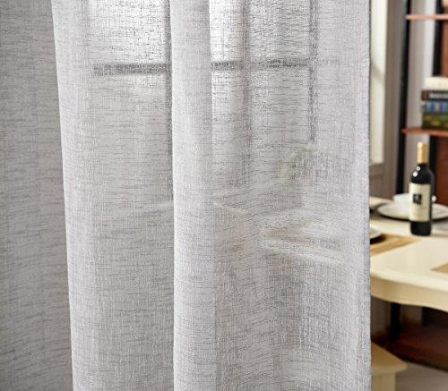 WOLTU VH5863hgr-2, 2er Set Gardinen transparent mit Schlaufen Leinen Optik, Doppelpack lichtdurchlässige Vorhänge Stores Fensterschal für Wohnzimmer Kinderzimmer Schlafzimmer, 140x245 cm Hellgrau