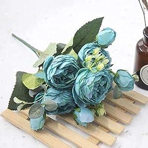 Silk Flower Arrangements 1 Bouquet 9 Heads Artificial Peony Tea Rose Flowers Camellia Silk Flower Flores for DIY Home Garden Wedding Decoration