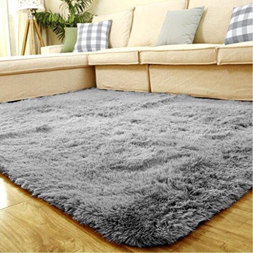 ACTCUT Super Soft Indoor Modern Shag Area Silky Smooth Rugs Fluffy Anti-Skid Shaggy Area Rug Dining Living Room Carpet Comfy Bedroom Floor 5.3' x 7.3' (Grey)