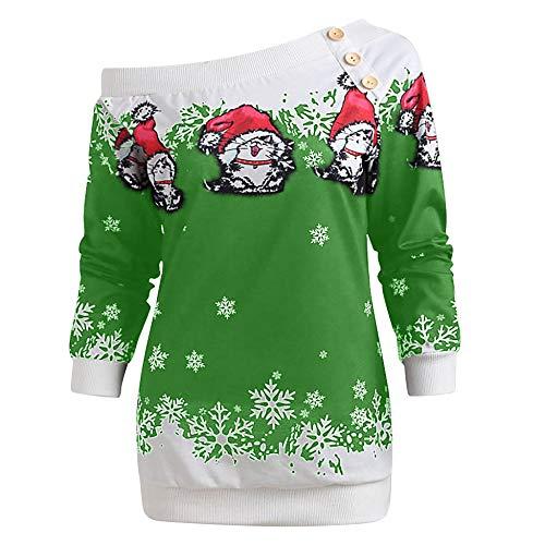 YLXINGMU Suéter De Navidad para Mujer,Woen Chrita Weater Woen Verde Bacalao Houder...