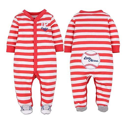 HAOJUE Pijama de unicornio de algodón para recién nacido, mameluco para niños, mameluco para bebés prematuros (color: rojo rayas deportivas, tamaño: 9M)