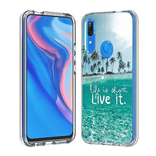 Hülle für Huawei P Smart Z (Hartplastik + Weich TPU Silikon Bumper) Ultradünne Stoßfest Schutzhülle Transparent Cover Case (Lebe es)