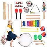 Herefun Musikinstrumente Kinder Set, 22 Stück Holzspielzeug Musical Percussion Instrumente Set Schlagzeug Früherziehung Musik...
