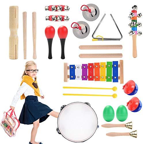 Herefun Musikinstrumente Kinder Set, 22 Stück Holzspielzeug Musical Percussion Instrumente Set Schlagzeug Früherziehung Musik Kinderspielzeug (B)