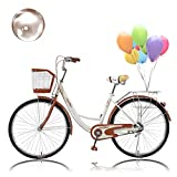 Micozy Women Bike 26 Inch Beach Cruiser Bike with Baskets and Comfortable Seats & Back Seats Retro Bicycle Classic Bicycle