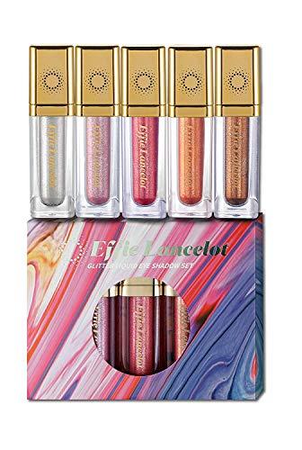 Effie Lancelot 5 Colores Sombra de Ojos líquida- Impermeable, Brillante, Resistente al agua, Maquillaje de pigmentos maquillaje set