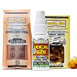 Vocal Eze Throat Spray with Manuka Honey Sticks (20ct.) and Manuka Honey Lemon Menthol Drops (20ct.) | for Sore and Dry Throats, Hoarse and Overused Voices