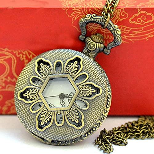 Reloj de Bolsillo Vintage de Bronce Reloj de Bolsillo Hueco Hexagonal con Collar