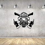 Autocollant Mural Sticker Vinyle Décor Pompier Masque Casque Nombre Art Décor...