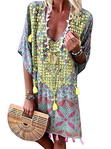 ORANDESIGNE Damen Sommerkleider V-Ausschnitt Strandkleider Einfarbig Kurzarm Casual A-Linie Kleid Boho Kleid Gelb DE 40