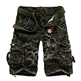 LZJDS Pantalones Cortos De Camuflaje Sueltos con Varios Bolsillos De Algodón para Hombre,Verde,38