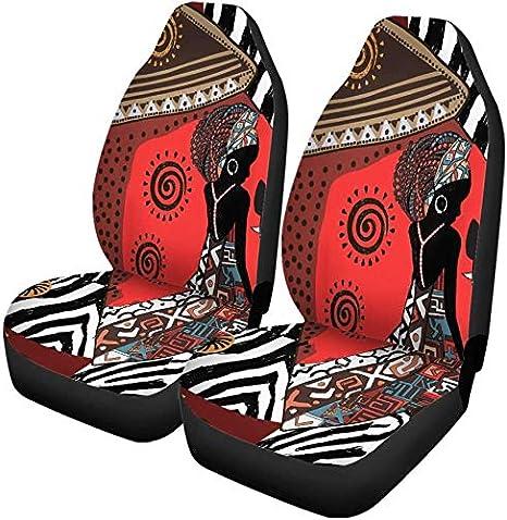 Fundas para asientos de automóvil Aborígenes Hermoso patrón étnico tribal Animal africano Negro Juego de 2 protectores Accesorios para el interior del automóvil Ajuste universal para la mayoría de lo