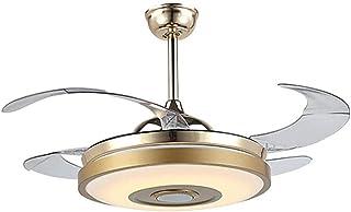 FHUA Ventiladores para el Techo con Lámpara Luz, Ventilador de Techo con Luz y Control Remoto con Bluetooth Altavoz de la Música con Retráctil Aspa del Ventilador Regulable Lampara Colgante